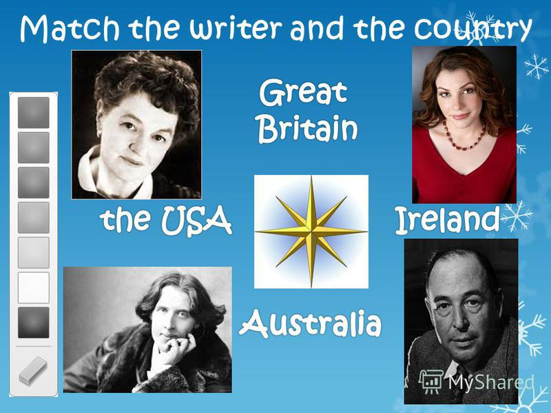 Match the writer and the country