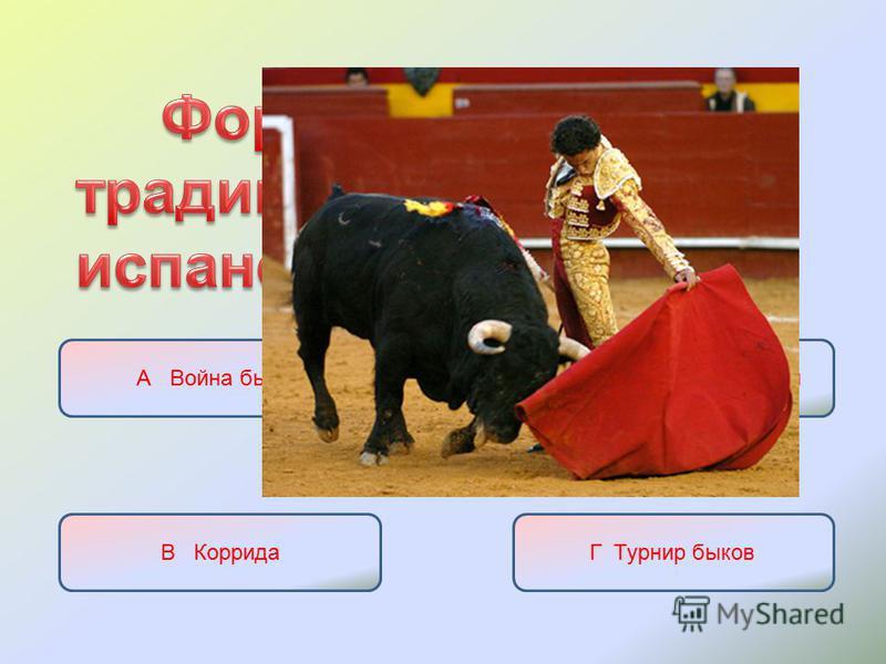 А Война быковБ Состязания с быками В Коррида Г Турнир быков
