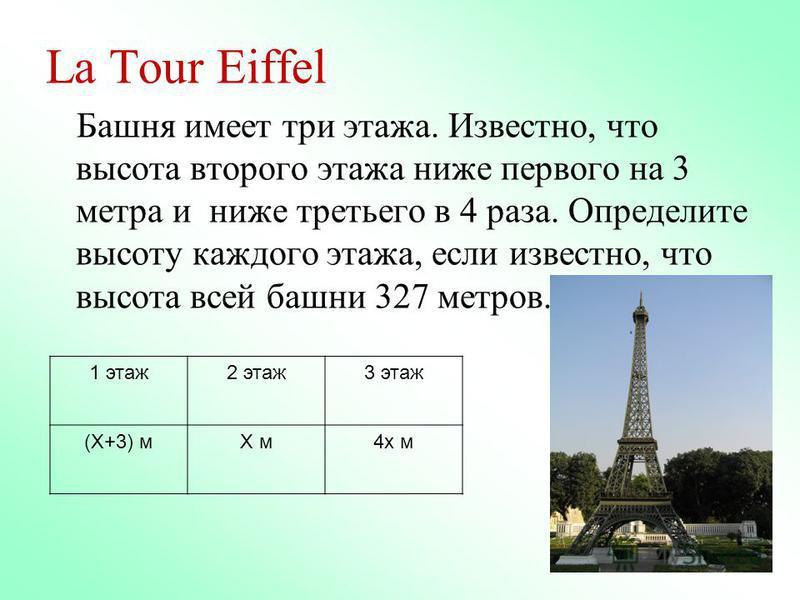 La Tour Eiffel Башня имеет три этажа. Известно, что высота второго этажа ниже первого на 3 метра и ниже третьего в 4 раза. Определите высоту каждого этажа, если известно, что высота всей башни 327 метров. 1 этаж 2 этаж 3 этаж (Х+3) мХ м 4 х м