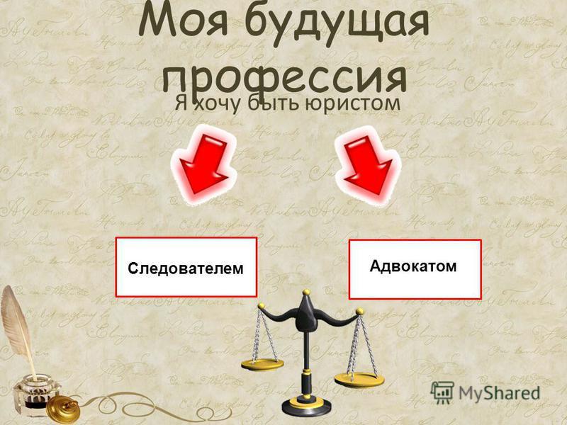 Моя будущая профессия Я хочу быть юристом Следователем Адвокатом
