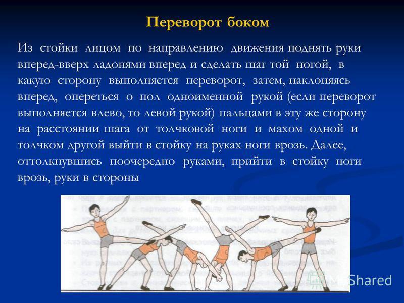 Переворот боком Из стойки лицом по направлению движения поднять руки вперед-вверх ладонями вперед и сделать шаг той ногой, в какую сторону выполняется переворот, затем, наклоняясь вперед, опереться о пол одноименной рукой (если переворот выполняется