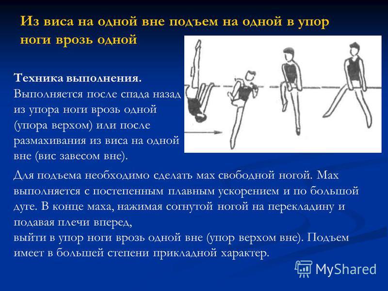 Из виса на одной вне подъем на одной в упор ноги врозь одной Техника выполнения. Выполняется после спада назад из упора ноги врозь одной (упора верхом) или после размахивания из виса на одной вне (вис завесом вне). Для подъема необходимо сделать мах
