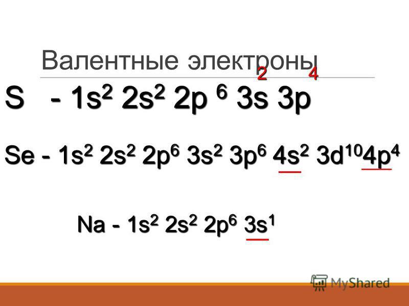 Валентные электроны S - 1s2 2s2 2p 6 3s 3p 24 Se - 1s 2 2s 2 2p 6 3s 2 3p 6 4s 2 3d 10 4p 4 Na - 1s 2 2s 2 2p 6 3s 1