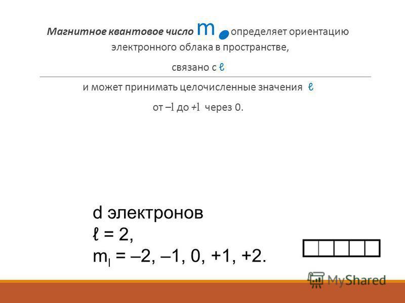 Магнитное квантовое число m l определяет ориентацию электронного облака в пространстве, связано с и может принимать целочисленные значения от – l до + l через 0. d электронов = 2, m l = –2, –1, 0, +1, +2.