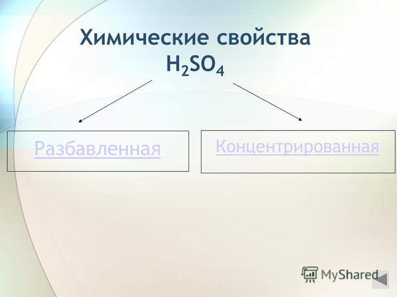 Химические свойства H 2 SO 4 Разбавленная Концентрированная