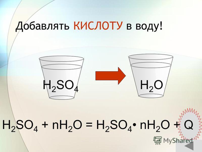 Добавлять КИСЛОТУ в воду! H 2 SO 4 + nH 2 O = H 2 SO 4 nH 2 O + Q H2OH2OH 2 SO 4