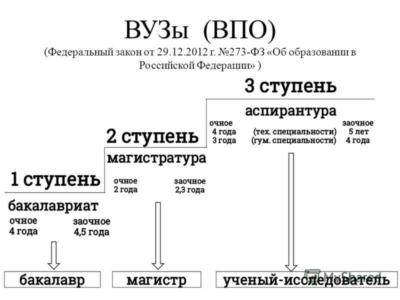ВУЗы (ВПО) (Федеральный закон от 29.12.2012 г. 273-ФЗ «Об образовании в Российской Федерации» )