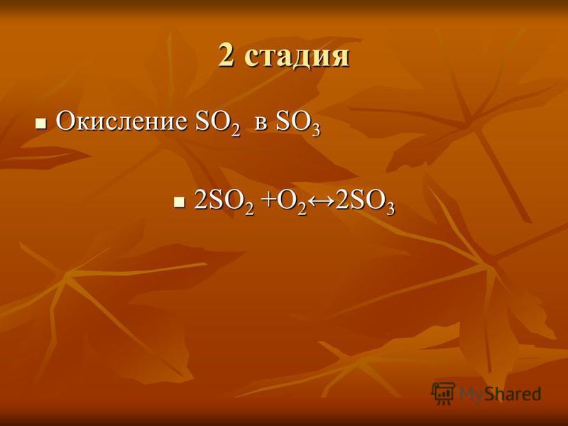 2 стадия Окисление SO 2 в SO 3 Окисление SO 2 в SO 3 2SO 2 +O 22SO 3 2SO 2 +O 22SO 3