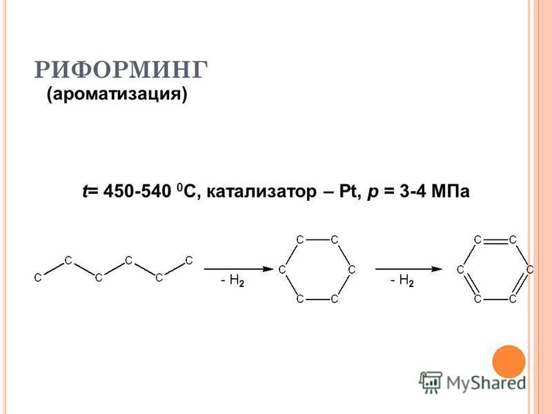 РИФОРМИНГ (ароматизация) t= 450-540 0 С, катализатор – Pt, p = 3-4 МПа - Н 2
