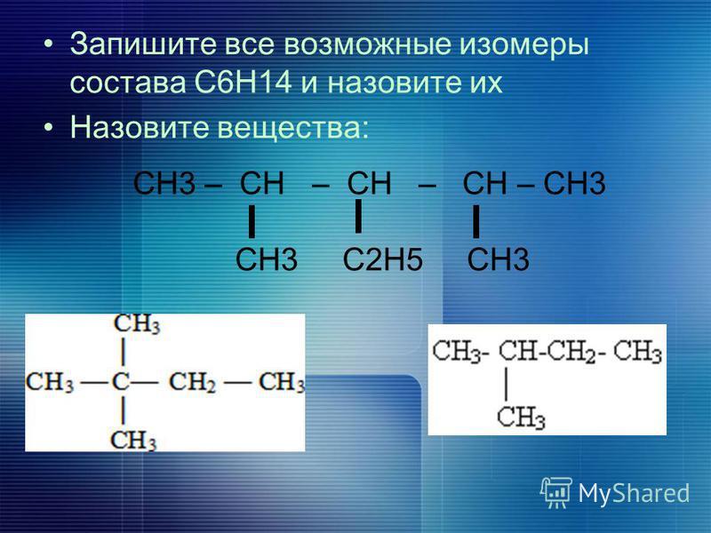 Запишите все возможные изомеры состава С6Н14 и назовите их Назовите вещества: СН3 – СН – СН – СН – СН3 СН3 С2Н5 СН3