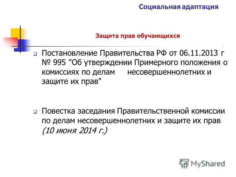 Социальная адаптация Защита прав обучающихся Постановление Правительства РФ от 06.11.2013 г 995