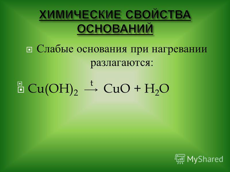 Слабые о снования при нагревании разлагаются : t Cu(OH) 2 CuO + H 2 O