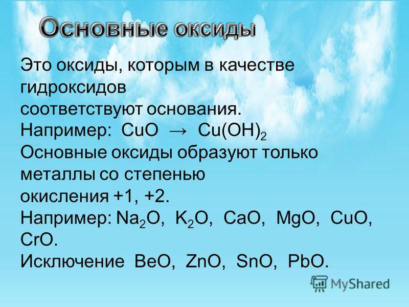 Это оксиды, которым в качестве гидроксидов соответствуют основания. Например: CuO Cu(OH) 2 Основные оксиды образуют только металлы со степенью окисления +1, +2. Например: Na 2 O, K 2 O, CaO, MgO, CuO, CrO. Исключение BeO, ZnO, SnO, PbO.