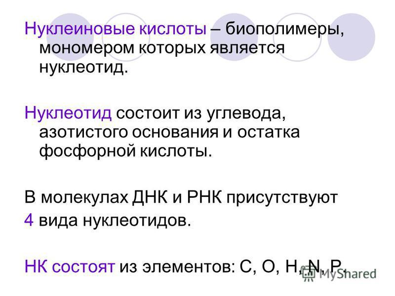 Нуклеиновые кислоты – биополимеры, мономером которых является нуклеотид. Нуклеотид состоит из углевода, азотистого основания и остатка фосфорной кислоты. В молекулах ДНК и РНК присутствуют 4 вида нуклеотидов. НК состоят из элементов: C, O, H, N, P.