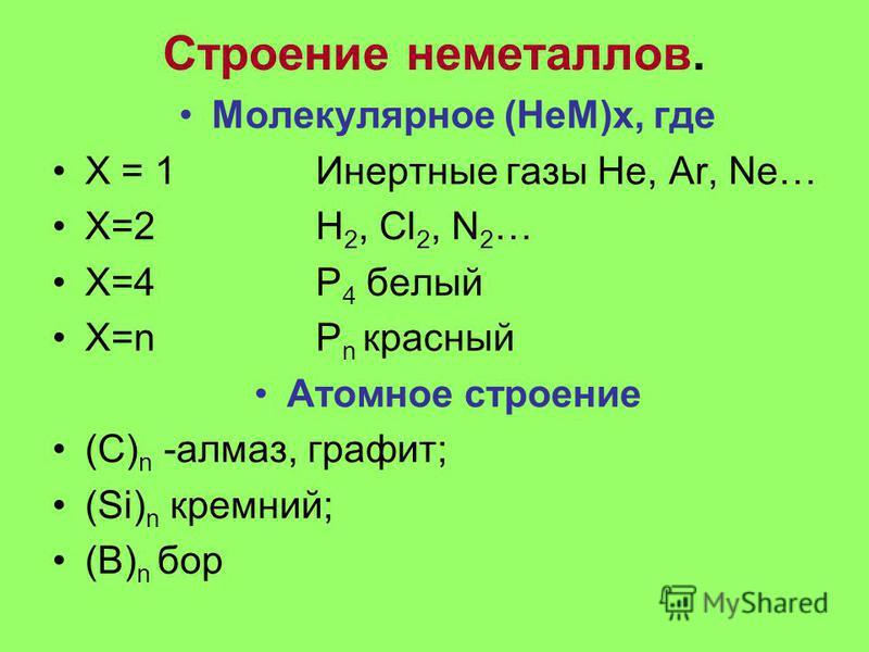 Строение неметаллов. Молекулярное (НеМ)х, где Х = 1 Инертные газы He, Ar, Ne… X=2 H 2, Cl 2, N 2 … X=4 P 4 белый Х=n P n красный Атомное строение (С) n -алмаз, графит; (Si) n кремний; (B) n бор