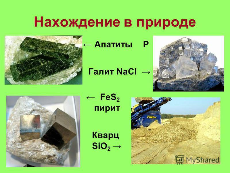 Нахождение в природе Апатиты Р Галит NaCl FeS 2 пирит Кварц SiO 2