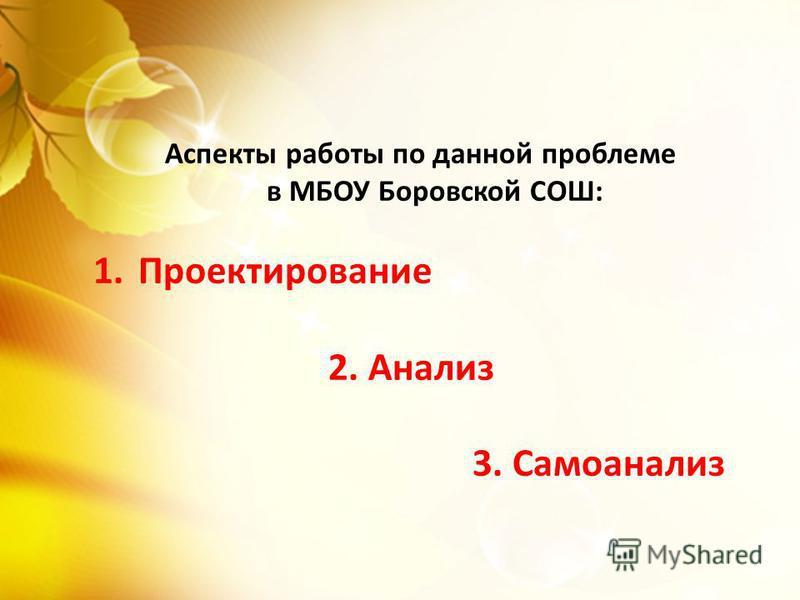 Аспекты работы по данной проблеме в МБОУ Боровской СОШ: 1. Проектирование 2. Анализ 3. Самоанализ