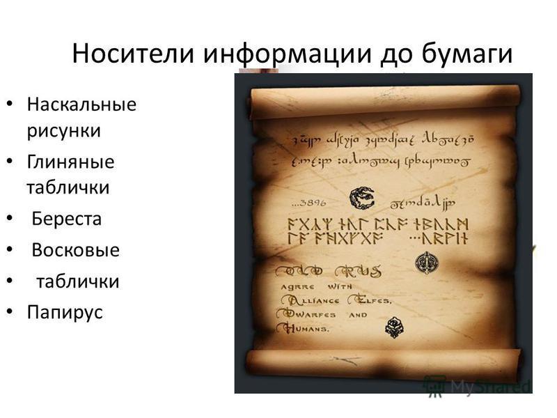 Носители информации до бумаги Наскальные рисунки Глиняные таблички Береста Восковые таблички Папирус