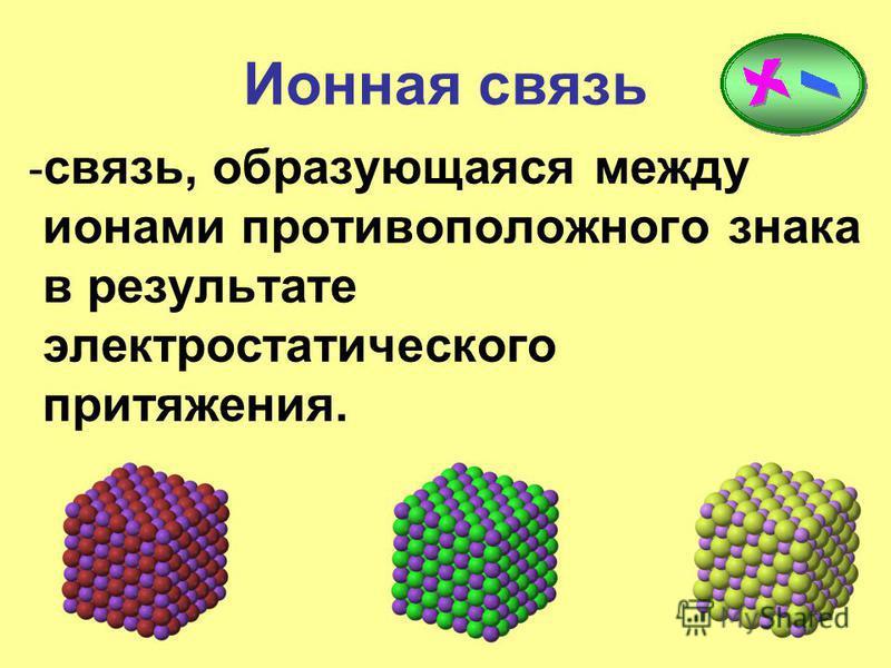 Ионная связь - связь, образующаяся между ионами противоположного знака в результате электростатического притяжения.