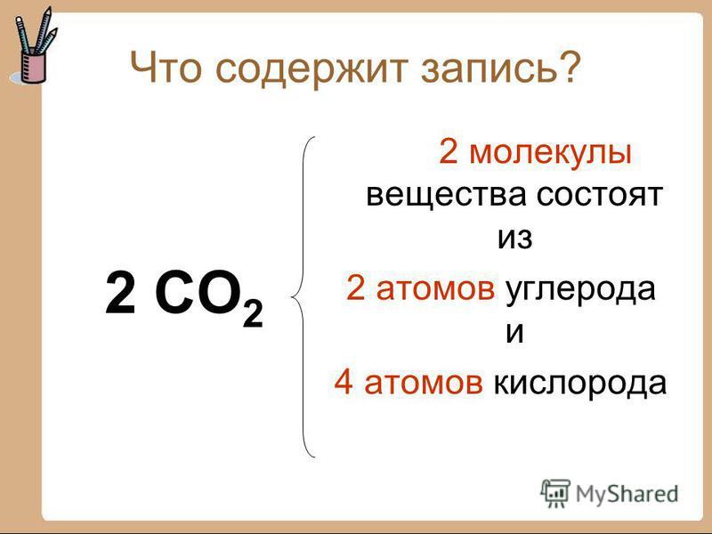 Что содержит запись? 2 CO 2 2 молекулы вещества состоят из 2 атомов углерода и 4 атомов кислорода