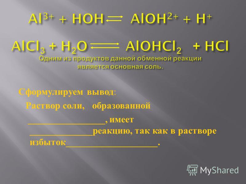 Сформулируем вывод : Раствор соли, образованной ________________, имеет _____________ реакцию, так как в растворе избыток ___________________.