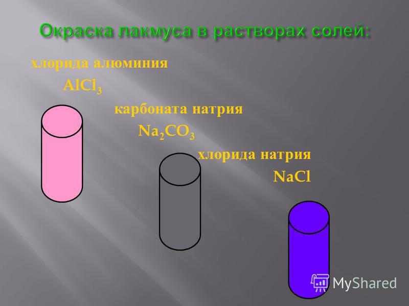 хлорида алюминия AlCl 3 карбоната натрия Na 2 CO 3 хлорида натрия NaCl