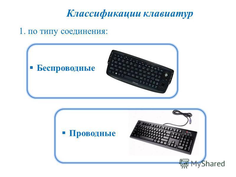 Классификации клавиатур 1. по типу соединения: Проводные Беспроводные