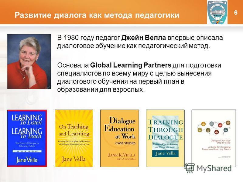 LOGO Развитие диалога как метода педагогики В 1980 году педагог Джейн Велла впервые описала диалоговое обучение как педагогический метод. Основала Global Learning Partners для подготовки специалистов по всему миру с целью вынесения диалогового обучен