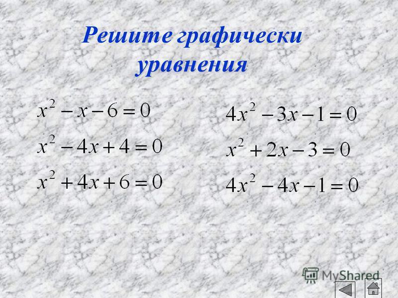 x 2 -2x+5=0 x 2 =2x-5 y=x 2 - парабола y=2x-5 - прямая Прямая и парабола не имеют общих точек. Ответ:корней нет.