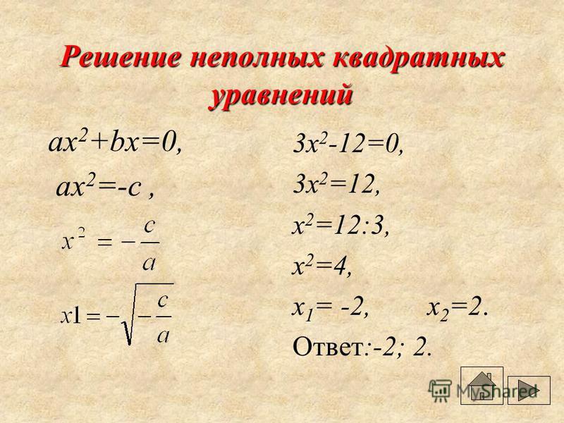 Виды квадратных уравнений Неполные ax 2 +bx=0 ax 2 =0 ax 2 +c=0 Полные ax 2 +bx+c=0, a 0, b 0, c 0, x 2 +px+g=0 приведённое квадратное уравнение