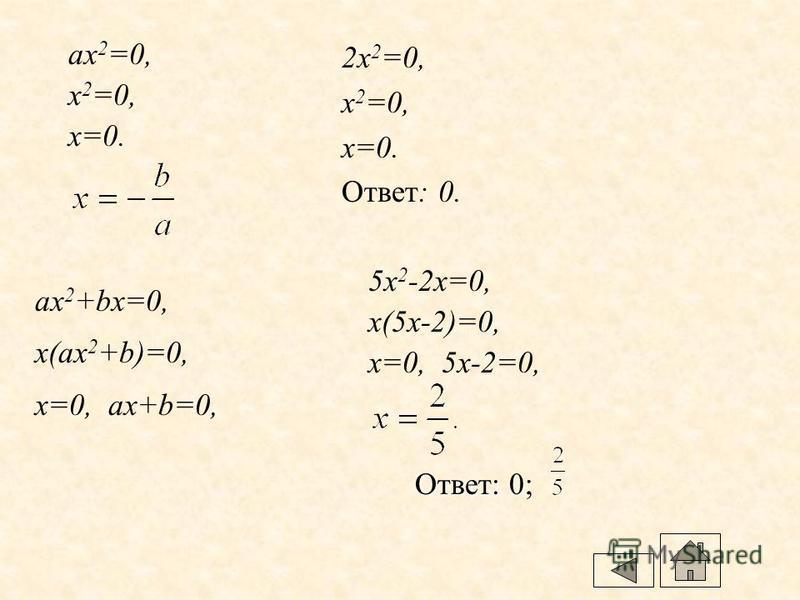 Решение неполных квадратных уравнений ax 2 +bx=0, ax 2 =-c, 3x 2 -12=0, 3x 2 =12, x 2 =12:3, x 2 =4, x 1 = -2, x 2 =2. Ответ:-2; 2.