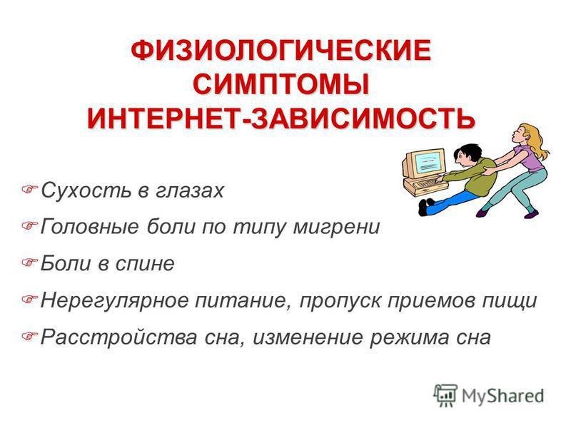 Сухость в глазах Головные боли по типу мигрени Боли в спине Нерегулярное питание, пропуск приемов пищи Расстройства сна, изменение режима сна ФИЗИОЛОГИЧЕСКИЕ СИМПТОМЫ ИНТЕРНЕТ-ЗАВИСИМОСТЬ
