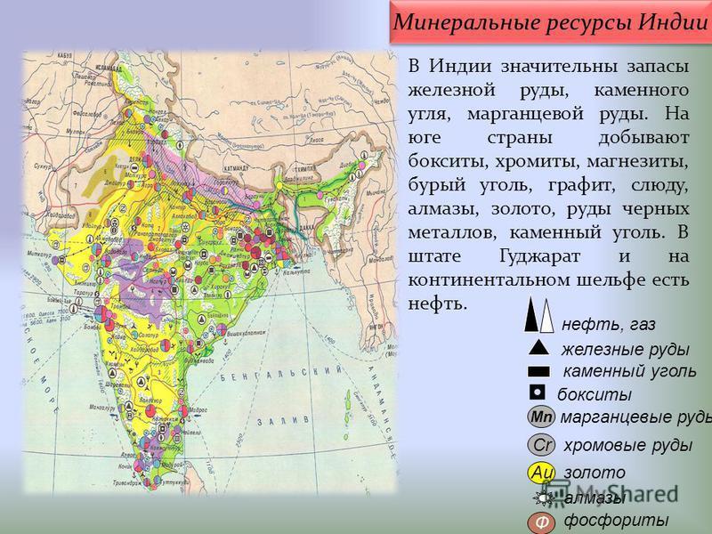 нефть, газ Au Cr бокситы железные руды алмазы Mn каменный уголь марганцевые руды хромовые руды золото фосфориты Ф В Индии значительны запасы железной руды, каменного угля, марганцевой руды. На юге страны добывают бокситы, хромиты, магнезиты, бурый уг