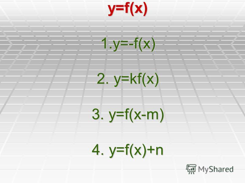 y=f(x) 1.y=-f(x) 2. y=kf(x) 3. y=f(x-m) 4. y=f(x)+n