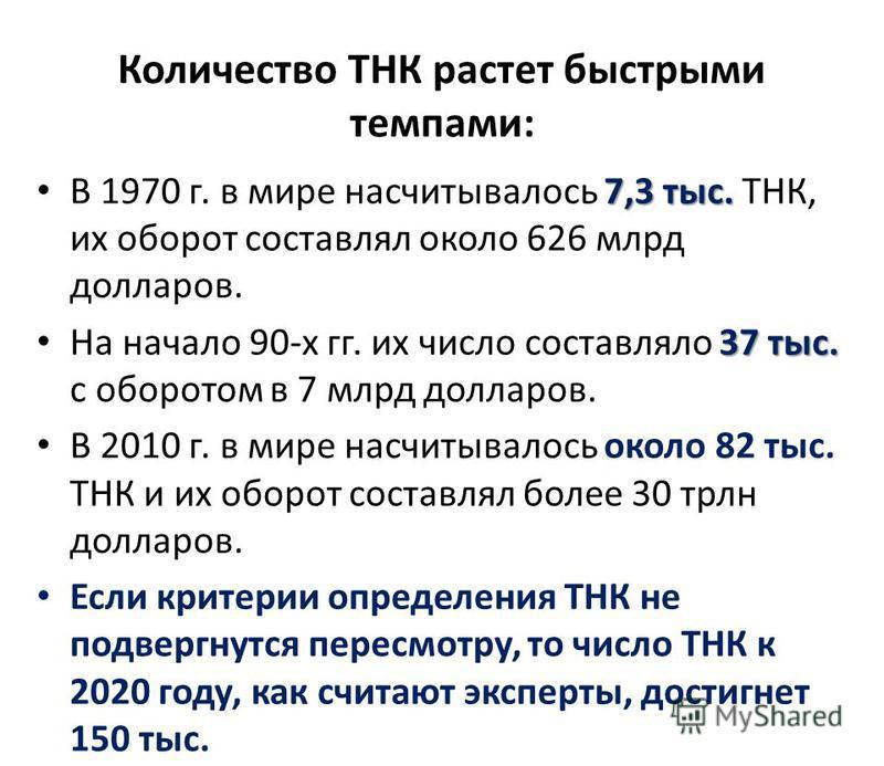 Количество ТНК растет быстрыми темпами: 7,3 тыс. В 1970 г. в мире насчитывалось 7,3 тыс. ТНК, их оборот составлял около 626 млрд долларов. 37 тыс. На начало 90-х гг. их число составляло 37 тыс. с оборотом в 7 млрд долларов. В 2010 г. в мире насчитыва