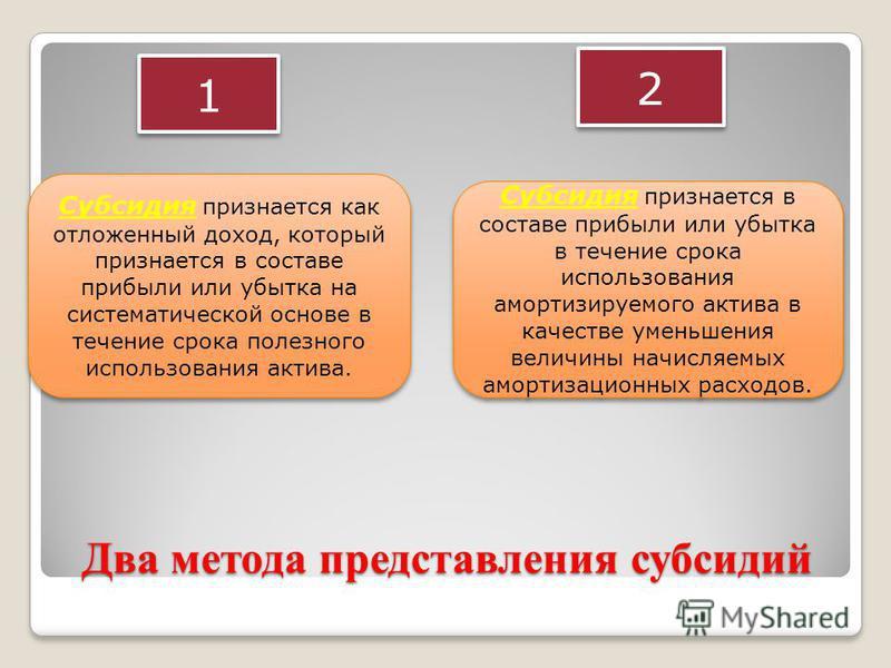 Два метода представления субсидий 1 1 2 2 Субсидия признается как отложенный доход, который признается в составе прибыли или убытка на систематической основе в течение срока полезного использования актива. Субсидия признается в составе прибыли или уб