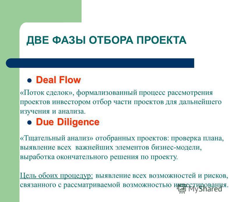ДВЕ ФАЗЫ ОТБОРА ПРОЕКТА Deal Flow Deal Flow Due Diligence Due Diligence «Тщательный анализ» отобранных проектов: проверка плана, выявление всех важнейших элементов бизнес-модели, выработка окончательного решения по проекту. Цель обоих процедур: выявл