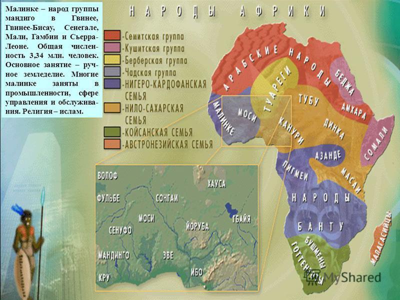 малинке Малинке – народ группы мандиго в Гвинее, Гвинее-Бисау, Сенегале, Мали, Гамбии и Сьерра- Леоне. Общая численность 3,34 млн. человек. Основное занятие – ручное земледелие. Многие малинке заняты в промышленности, сфере управления и обслуживания.
