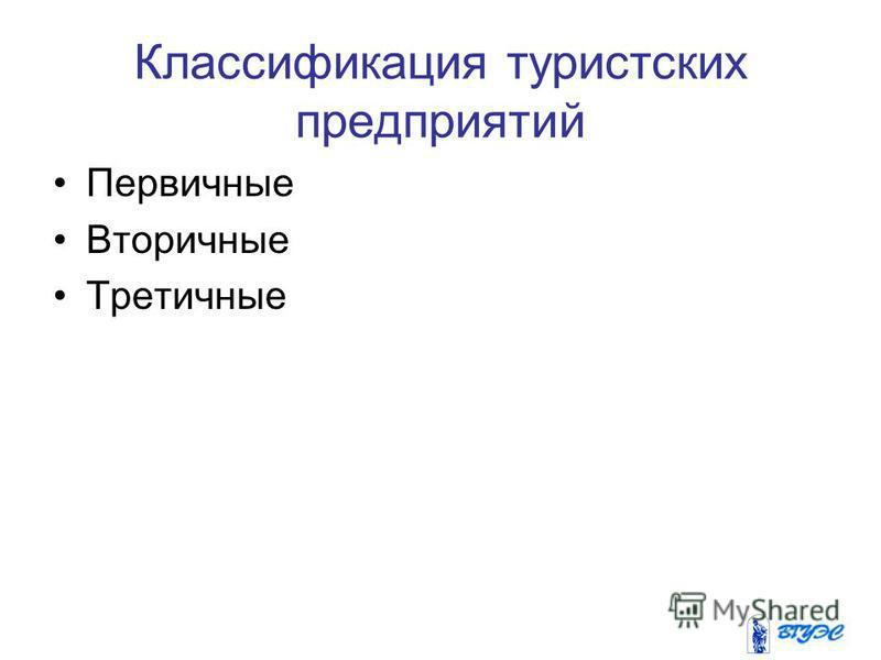 Классификация туристских предприятий Первичные Вторичные Третичные