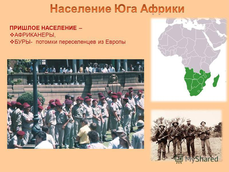 ПРИШЛОЕ НАСЕЛЕНИЕ – АФРИКАНЕРЫ, БУРЫ- потомки переселенцев из Европы