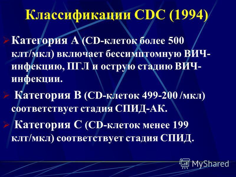 Классификации CDC (1994) Категория А (CD-клеток более 500 клт/мкл) включает бессимптомную ВИЧ- инфекцию, ПГЛ и острую стадию ВИЧ- инфекции. Категория В (CD-клеток 499-200 /мкл) соответствует стадия СПИД-АК. Категория С (CD-клеток менее 199 клт/мкл) с