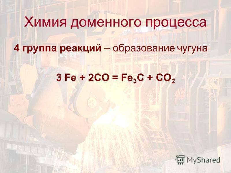 4 группа реакций – образование чугуна 3 Fe + 2CO = Fe 3 C + CO 2 Химия доменного процесса