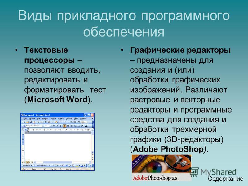 Виды прикладного программного обеспечения Текстовые процессоры – позволяют вводить, редактировать и форматировать тест (Microsoft Word). Графические редакторы – предназначены для создания и (или) обработки графических изображений. Различают растровые