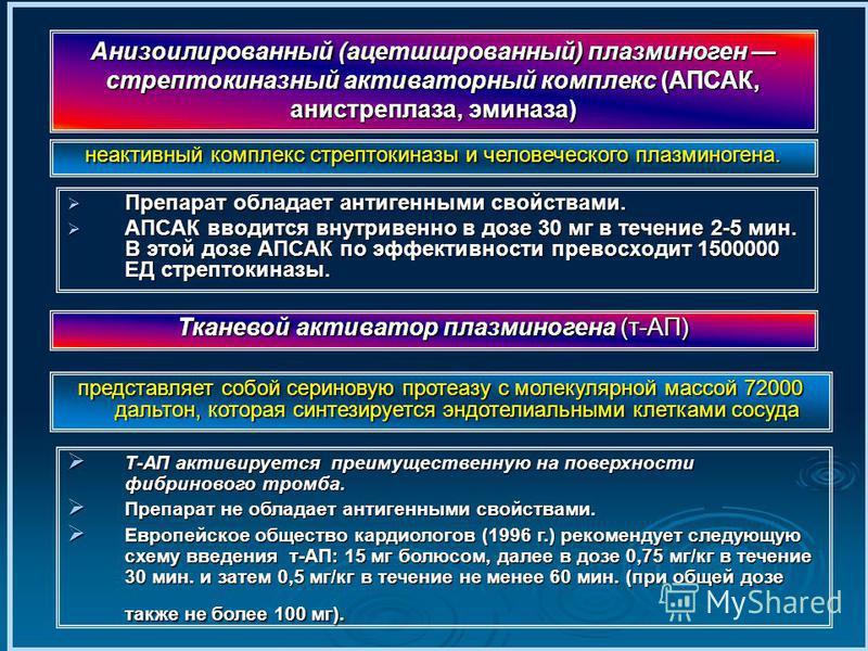 Препарат обладает антигенными свойствами. Препарат обладает антигенными свойствами. АПСАК вводится внутривенно в дозе 30 мг в течение 2-5 мин. В этой дозе АПСАК по эффективности превосходит 1500000 ЕД стрептокиназы. АПСАК вводится внутривенно в дозе