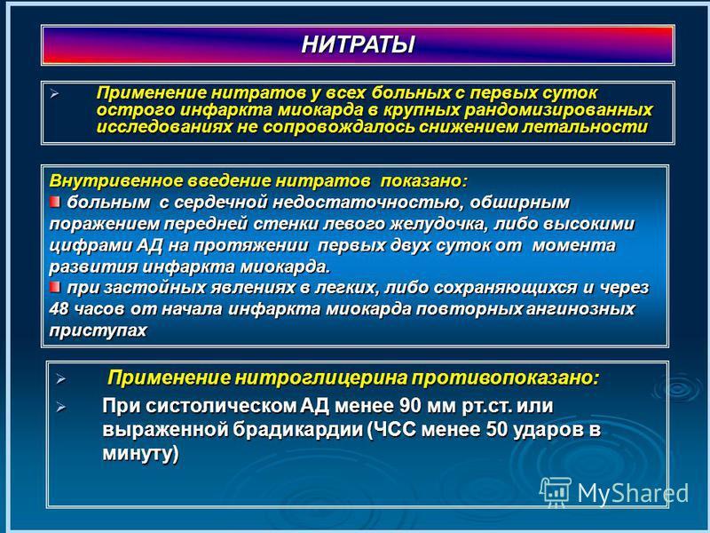 Применение нитратов у всех больных с первых суток острого инфаркта миокарда в крупных рандомизированных исследованиях не сопровождалось снижением летальности Применение нитратов у всех больных с первых суток острого инфаркта миокарда в крупных рандом