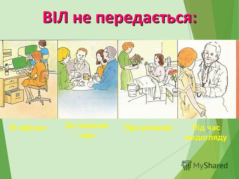 В офісах За чашкою чаю При розмовіПід час медогляду ВІЛ не передається:
