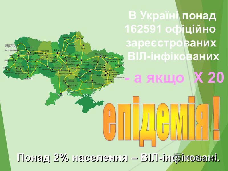 В Україні понад 162591 офіційно зареєстрованих ВІЛ-інфікованих Понад 2% населення – ВІЛ-інфіковані. - а якщо Х 20