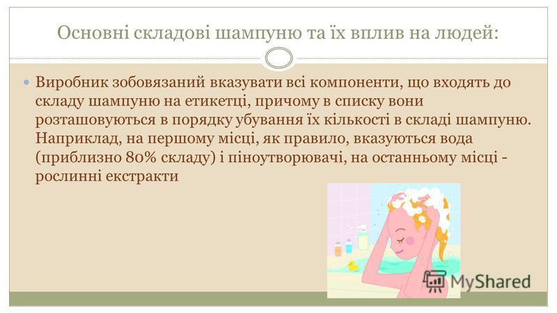 Основні складові шампуню та їх вплив на людей: Виробник зобовязаний вказувати всі компоненти, що входять до складу шампуню на етикетці, причому в списку вони розташовуються в порядку убування їх кількості в складі шампуню. Наприклад, на першому місці
