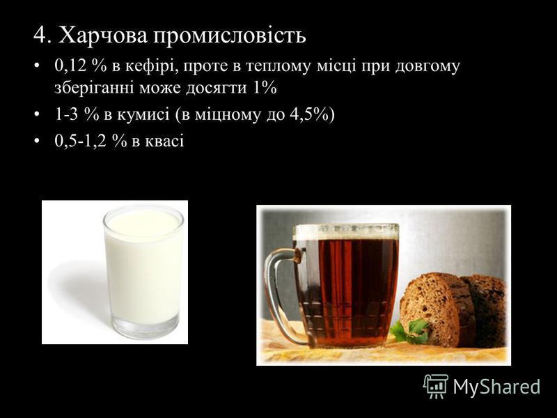 4. Харчова промисловість 0,12 % в кефірі, проте в теплому місці при довгому зберіганні може досягти 1% 1-3 % в кумисі (в міцному до 4,5%) 0,5-1,2 % в квасі