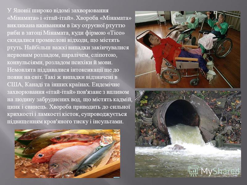 У Японії широко відомі захворювання «Мінамата» і «ітай-ітай». Хвороба «Мінамата» викликана вживанням в їжу отруєної ртуттю риби в затоці Мінамата, куди фірмою «Тісо» скидалися промислові відходи, що містять ртуть. Найбільш важкі випадки закінчувалися